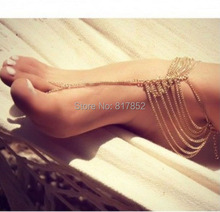 FREE SHIPPING Women Loved Fashion Gold or Silver or Gray Anklet Chunky Chain Multi-layers Ankle Chain Jewelry 3 COLORS