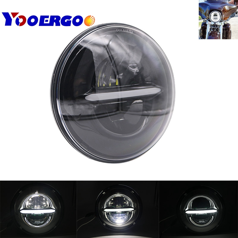 Motorcycle 5-3/4 Halo Angel Eye DRL Round Chrome Headlamp Harley Sportster 883 72 48 Black Daymaker 5.75 Inch H4 LED Headlight 5 75 inch daymaker led motorcycle headlight projector lens faro moto for harley led 5 3 4 headlight round headlamp motorcycle