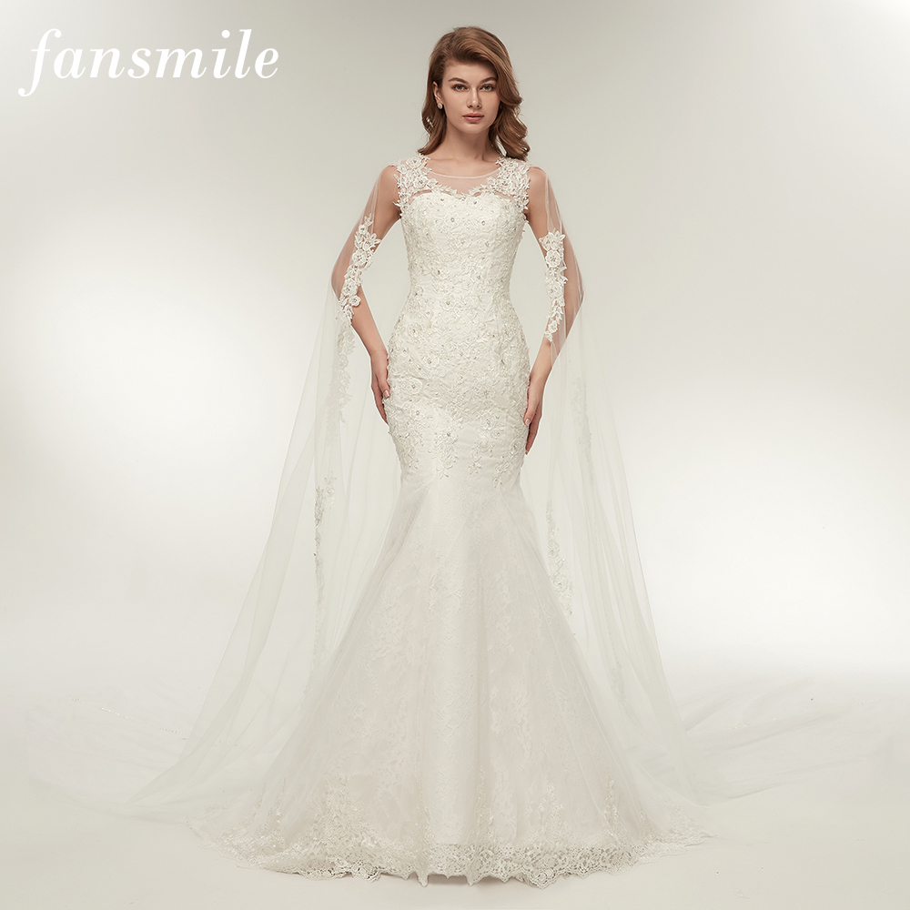 Fansmile Vestido De Noiva Customized Plus Size Lace Mermaid Wedding Dress 2019 Real Photo Vintage Bridal Wedding Gowns FSM 112M-in Wedding Dresses from Weddings & Events