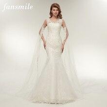Fansmile Vestido De Noiva ที่กำหนดเอง PLUS ขนาดลูกไม้ชุดแต่งงานเงือก 2020 Real Photo VINTAGE Gowns แต่งงานเจ้าสาว FSM 112M