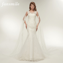 Fansmile Vestido De novia personalizado De talla grande, De encaje, sirena, foto Real, Vintage, vestidos De boda, FSM 112M, 2020