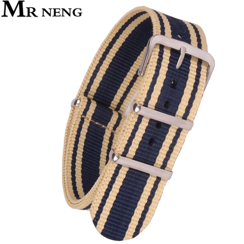 MR NENG Brand New 1pcs Nato Strap 20mm 22mm Nylon Watch Band Waterproof Watch Strap wholesale 10pcs lot high quality 20mm nylon watch band nato waterproof watch strap colorful fashion wach band nato strap new
