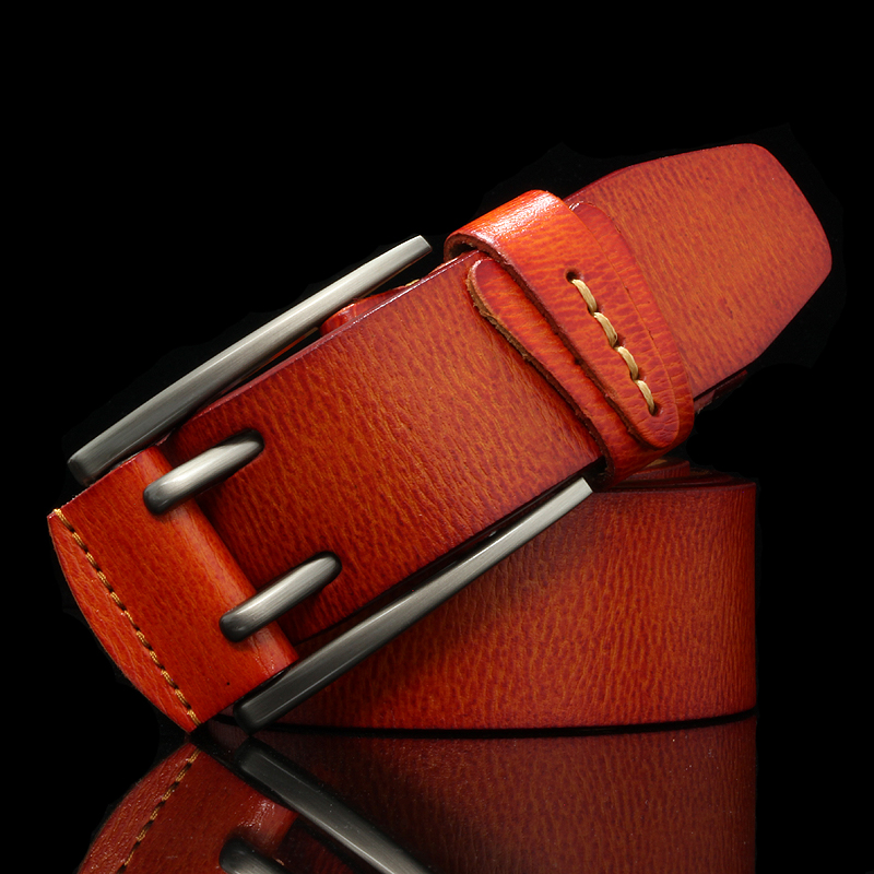 Image 4 - Fashion British Style Double Pin Buckle High Quality Genuine Leather Belt For Men Casual Jeans Waistbands Strap Free ShippingMens Belts   -