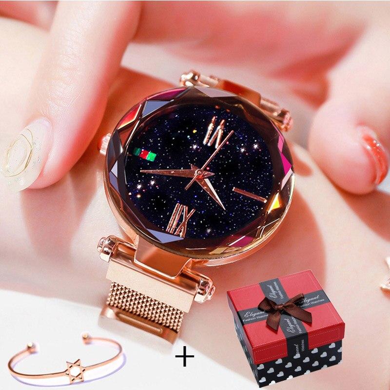 Luxury Rose Gold Women Watch Magnet Starry sky Wrist Watch For Ladies Female Wristwatch Waterproof reloj mujer relogio feminino đồng hồ gucci dây nam châm