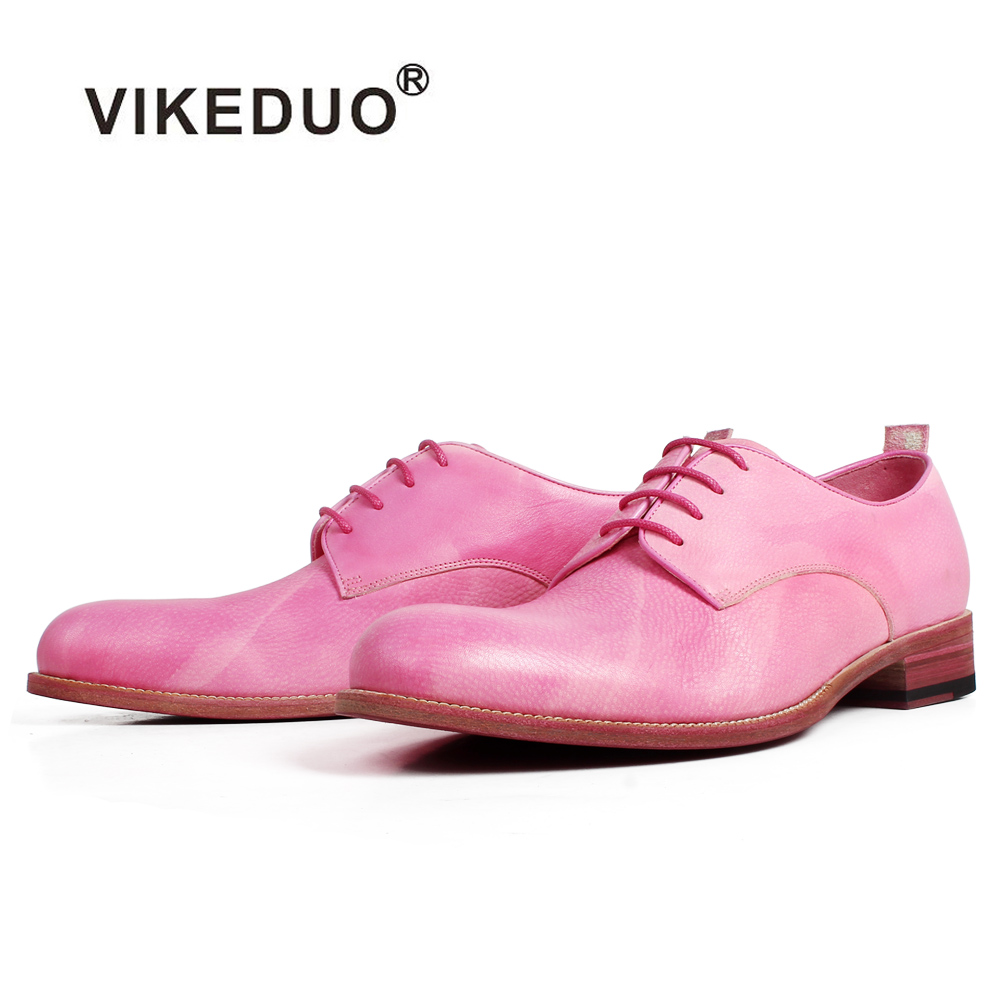 VIKEDUO Environmentally Friendly Leather Shoes Men Patina Pink Derby Dress Shoes Leather Outsole Round Toe Mans Footwear Zapatos