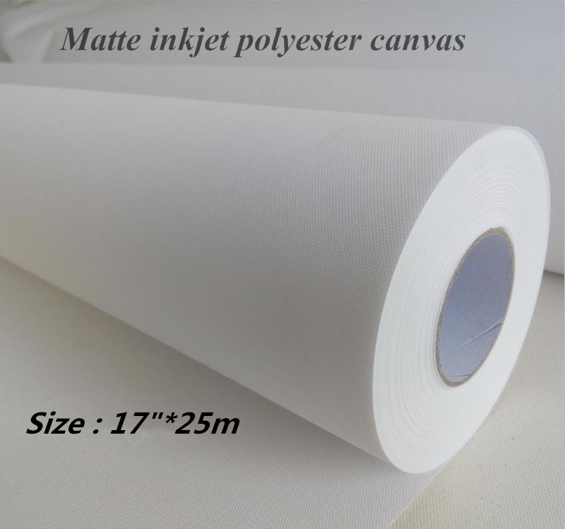 Knowledgeable 17in*25m 260gsm Inkjet Matte Canvas Polyester Canvas Roll Waterproof