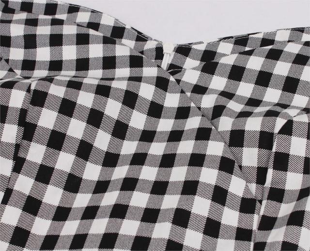 Short Sleeves Midi Dresses Casual Vintage Plaid  Retro Pleated Dress 4