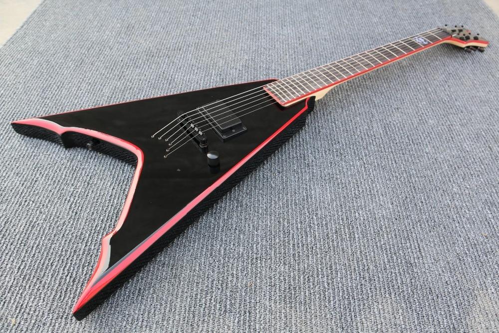 quality handmade red edge v shape body string through body electric guitar guitarra cusrtomizes. Black Bedroom Furniture Sets. Home Design Ideas