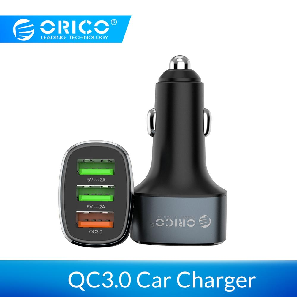 ORICO 38W 3 USB Ports Quick Charge QC 3.0 Car Charger For IPhone XR XS MAX 8 Samsung S10 Charger Mobile Phone Fast Car-Charger