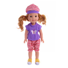 Doll Clothes Beautiful clothes set Butterfly pattern + hat set suit for American girl Wellie Wisher doll accessories