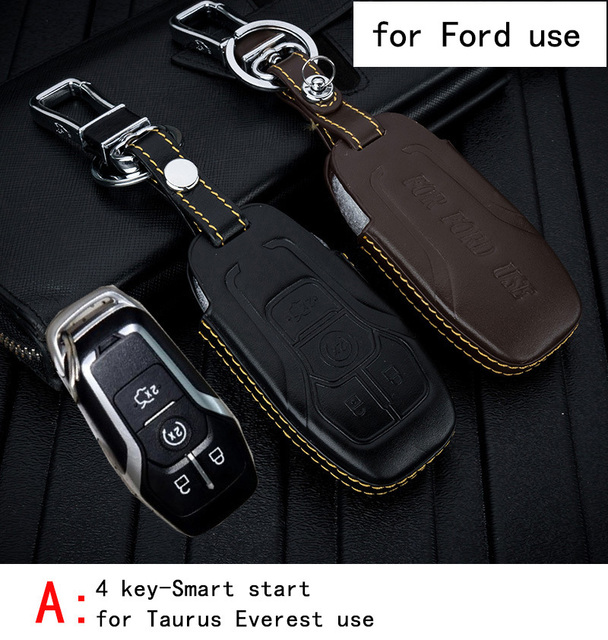 Genuine Leather CAR KEY CASE For FORD TAURUS EVEREST ESCAPE NEW FOCUS MONDEO EDGE Use Automobile Special-purpose CAR KEY HOLDER