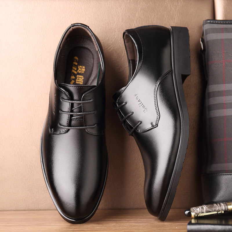 Leather Shoes Mens Leather Business Shoes Youth Black Dress Mens Small Shoes Sturdy Construction Shoes