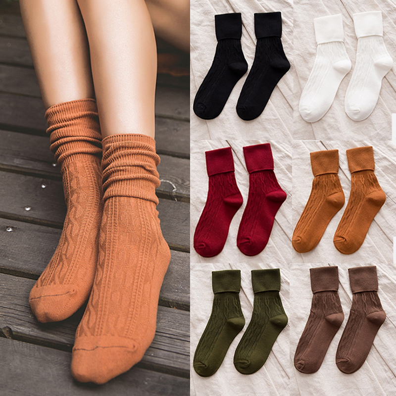 1Pair 9 Colors Hot Sale Casual Fashion Women Warm Thick High White Black Wine Red Socks Pile Heap Socks Solid Color Comfortable