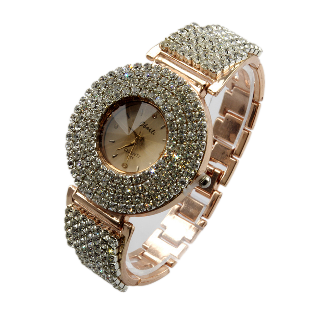 Luxury Crystal Lady Watch Rose Gold Color Clock Elegant Fully-jewelled Delicate Analog Women Quartz WristWatch Gift   LL
