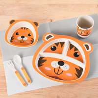 Bamboo Tableware Baby Food Bowl Baby Feeding Fork Spoon Set Of Children's Dishes Baby Feeding Child Dish Children's Plate