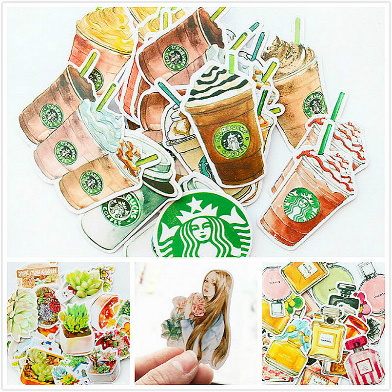 1Pcs/Sell Coffee Girl Stationery Stickers Pack Post Planner Scrapbooking Diary Sticker School Supplies Memo Pad