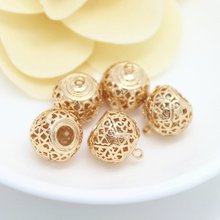 4PCS 13x19MM 24K Champagne Gold Color Plated Brass Hollow Charms Pendants High Quality Diy Jewelry Accessories