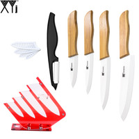 High Grade Zirconia Ceramic Knife Set Pretty Holder With Peeler 3 4 5 6 White Blade
