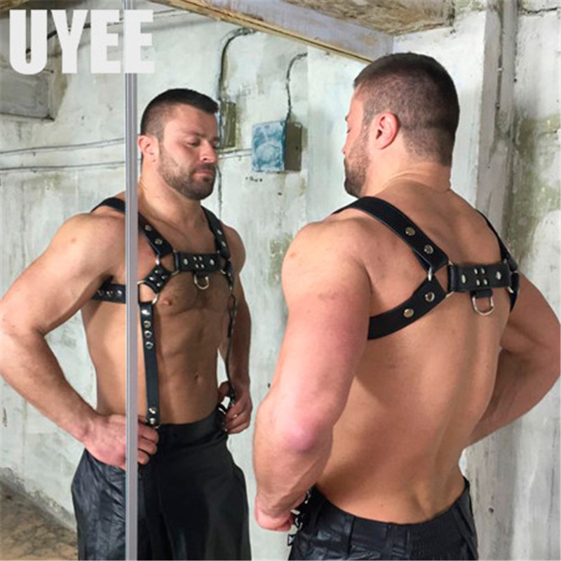 Image 2 - UYEE Erotic Leather Harness Punk Belts For Men Gothic Body Bondage Custome Cage Sexy Chest Garter Belts Lingerie Clubwear LM 003Mens Belts   -