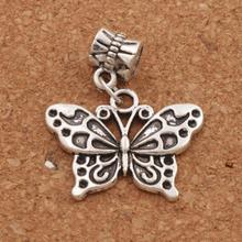 цена на White Peacock Butterfly Alloy 24.8x30.3mm 18pcs Antique Silver Big Hole Beads Jewelry DIY B1128