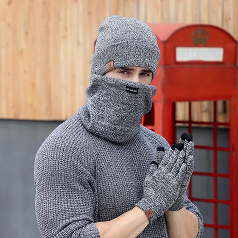 cbd750a88d7 2019 Winter Scarf Hat Glove Sets Men Women Warm Thick Unisex Gloves ...