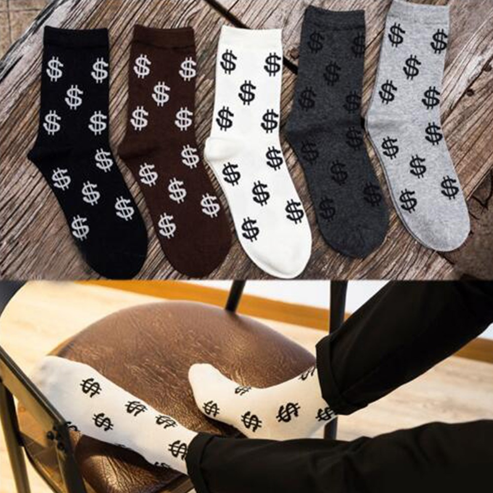 1 Pair New Men's Dollar Signs Money Design Comfortable Cotton Warm Socks High Quality Softly Breathable Socks For Male