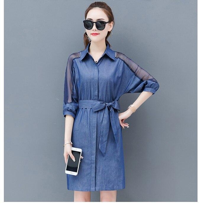 2019 New arrival women s casual jean slim dresses school girls fashion Korean design blue dress