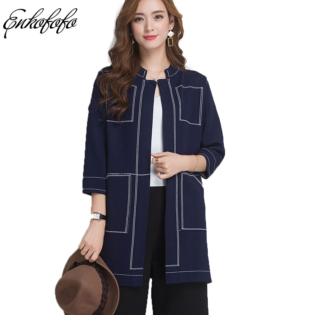 2018 New Spring and Autumn Cardigan Women Casual Long Knitted Loose Solid Color Pockets Design Sweater Jacket Black Navy Blue
