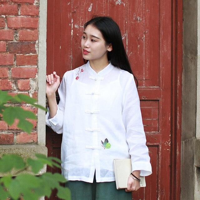 LZJN Folk Style Chinese Garment 9 Points Sleeve Linen Blouse Shirt Women Summer Tops White Blouses Feminine Chemise Femme Blusas