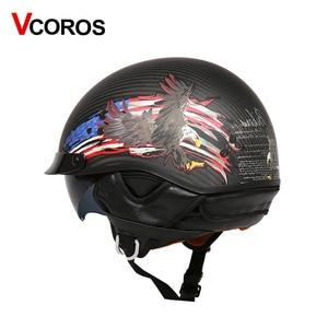 Image 5 - VCOROS Brand Retro Carbon Fiber Open Face Motorcycle Helmet Vintage Motorbike Helmet Cruise casco moto Scooter Man Helmet DOT