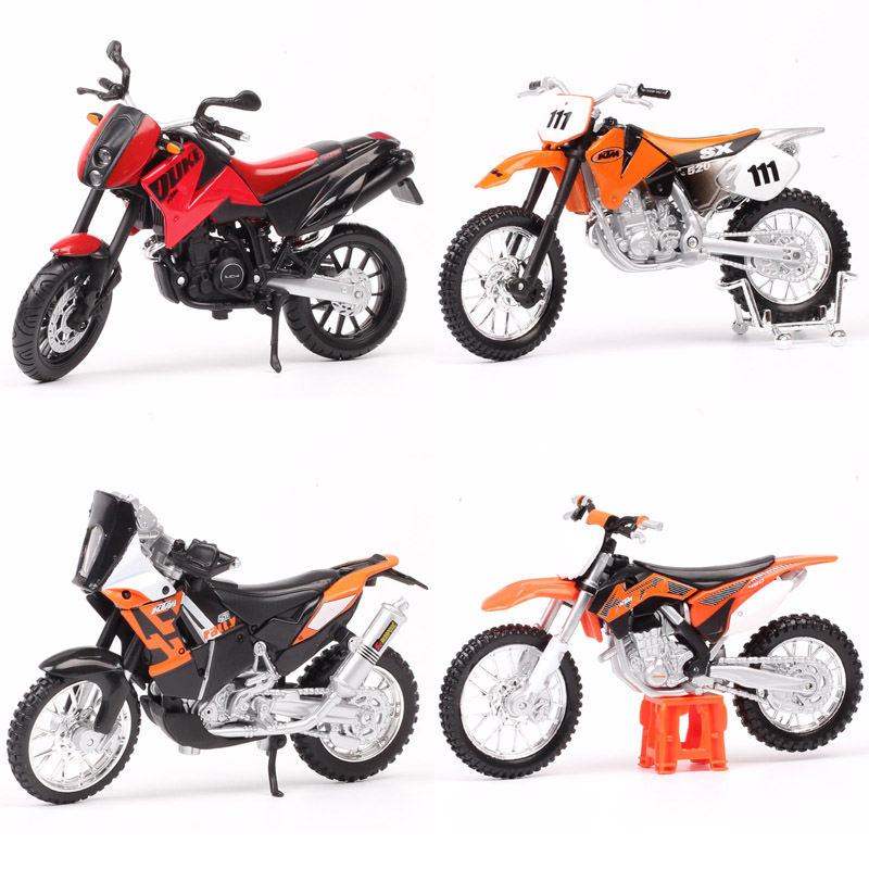 1:18 Scale Maisto Motorcycle KTM 450 EXC Rally SXF SX520 525 Duke Motocross Dirt Racing Bike Diecasts Vehicles Enduro Models Toy