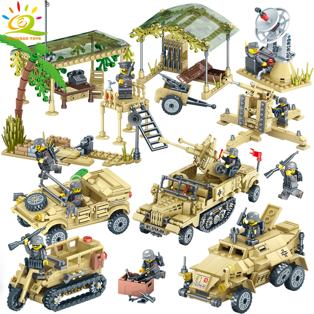 HUIQIBAO TOYS Army Building Blocks For Children Compatible legoingly Military Truck Vehicle Motorcycle Soldier Weapons Brick set