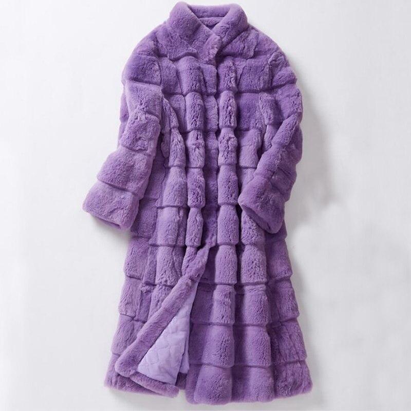 Женская одежда, длинное пальто большого размера из стриженого кроличьего меха в полоску, пальто из натурального меха, зимнее пальто для женщин ksr616