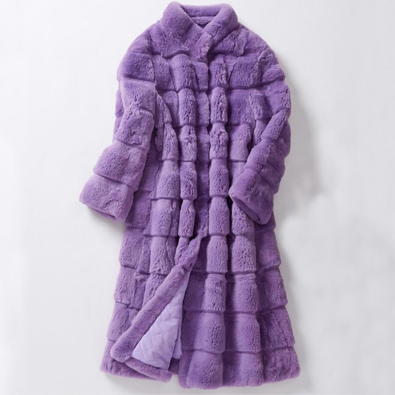 Women Clothing Long Big Size Sheared Rabbit Fur Striped Line Real Fur Coat Genuine Fur Overcoat Winter For Female Ksr616