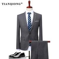 TIAN QIONG 2 Pezzo Si Adatta Alle Uomini Coreano Ultimi Disegni Cappotto Mutanda grigio Mens Suit Autunno Inverno Thick Slim Fit Abito Da Sposa Smoking