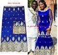 Multicolor Tela de Encaje George Africano con 2 yardas de Tul de Encaje Africano George Tela Africana George Envoltura de Alta Calidad para el Vestido