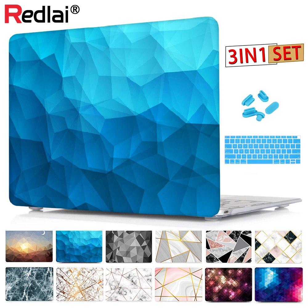 Redlai caso geométrico para 2018 novo macbook air 13 a1932 com toque id pro 13 15 retina a1502 barra de toque a1706 a1707
