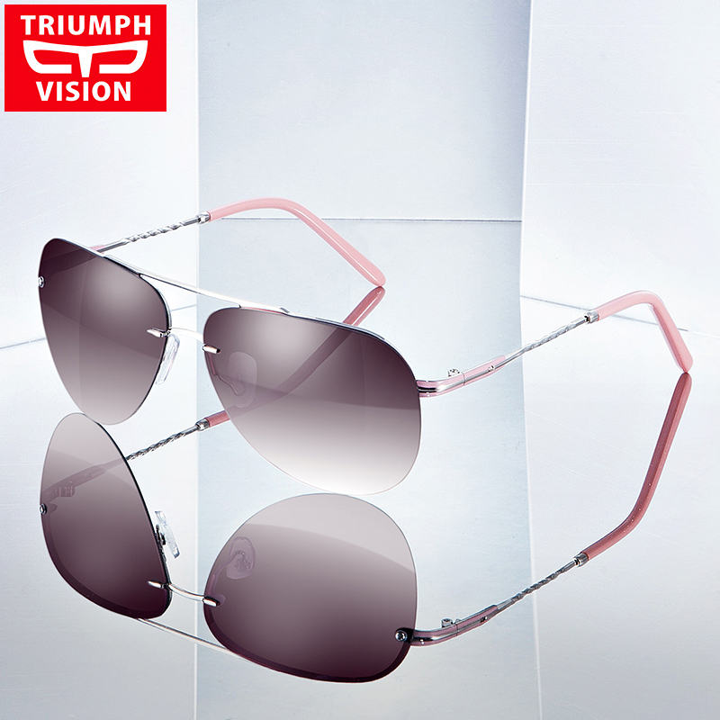 a0a2ee5ee0c5 TRIUMPH VISION High Fashion Rimless Pilot Sun Glasses For Women Polarized  Driving Female Sunglasses Luxury Elegant Ladies Oculos