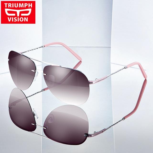 c897fc28f9a TRIUMPH VISION High Fashion Rimless Pilot Sun Glasses For Women Polarized  Driving Female Sunglasses Luxury Elegant