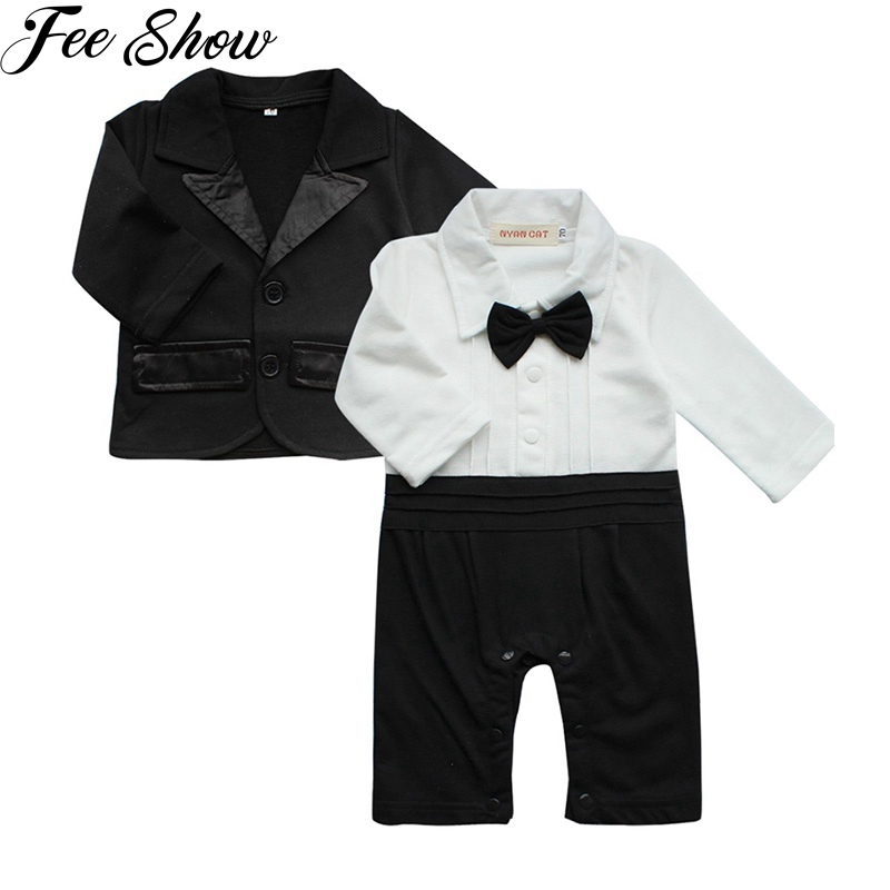 2pcs Baby Boys Gentleman Romper and Suit Outfit Sets SZ 0-24 Months
