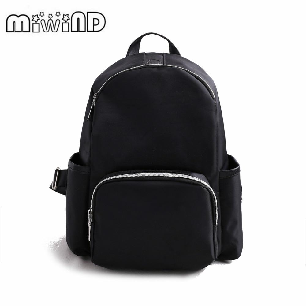 2017 MIWIND Famous Brand Men Backpack Women Backpacks Solid Vintage Girls School Bags for Girls Black PU Leather Women Backpack
