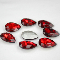 Red Pointback Glass Crystal Pear Shape Rhinestone Teardrop Droplet Glass Chatons Stone For Jewelry Phone