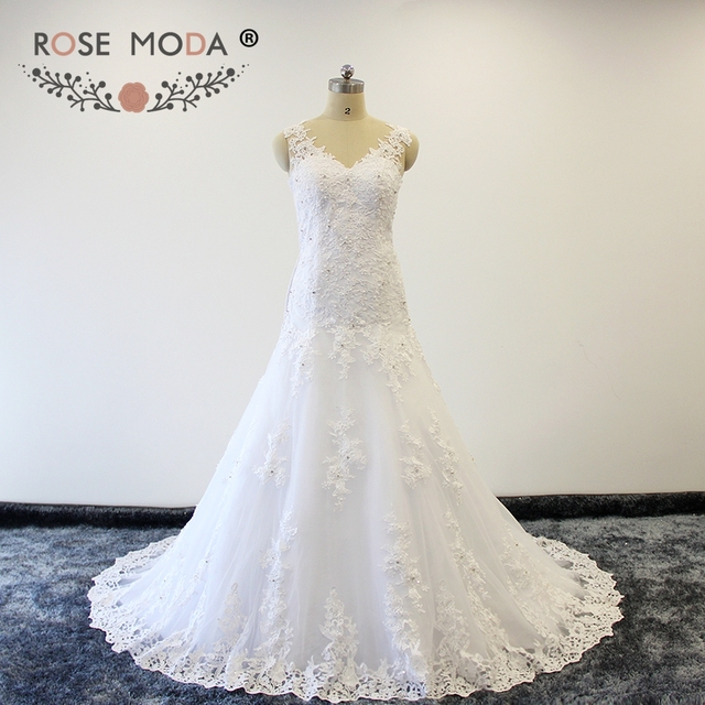 Rose Moda V Neck Venice Lace Trumpet Wedding Dresses with illusion ...