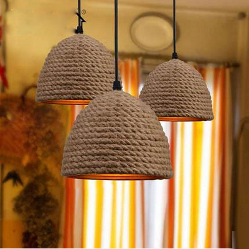 American rural retro iron rope creative personality Art Bar Restaurant pastoral chandelier lighting rural pastoral creative restaurant cafe personality wrought iron rope chandelier lamp internet cafe bar loft hemp rope lamp