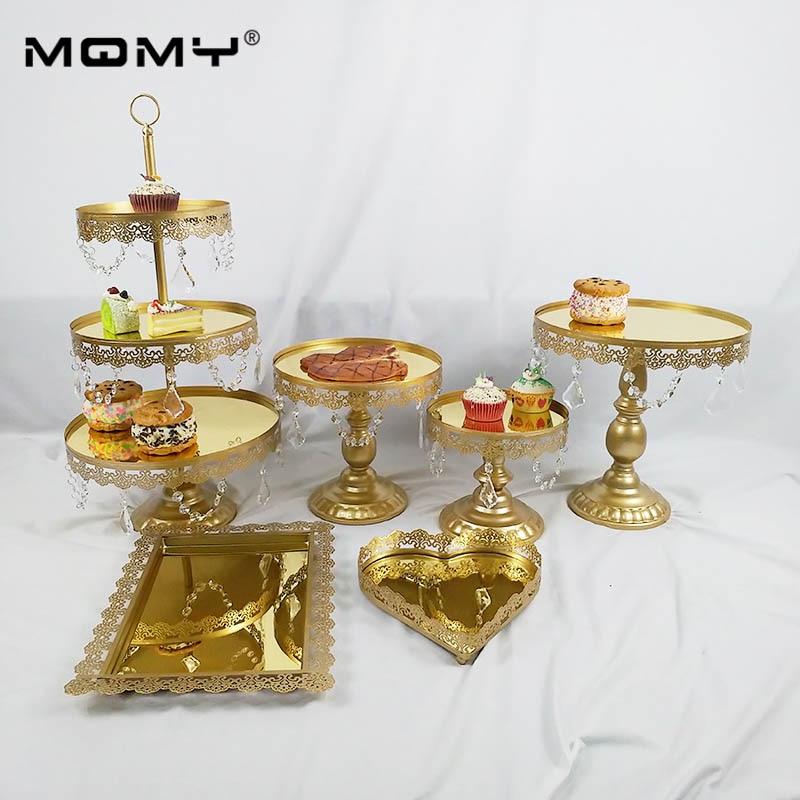 Support de gâteau de mariage miroir en or support de cupcake en métal pour les fêtes d'anniversaire