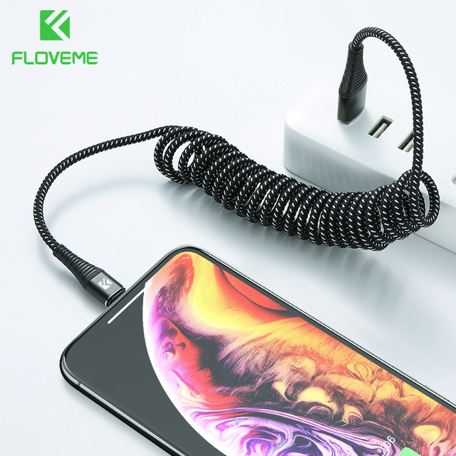 FLOVEME USB Cable For iPhone XR XS MAX X Spring 2A Fast Charger For iPhone X Lighting Cable Charging Data Sync Nylon Phone Cable