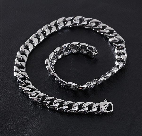 Collar de cadena de eslabones cubanos de 60CM de largo y 15MM de ancho para hombres collar de acero inoxidable 316L collar popular de fiesta