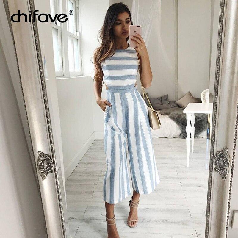 2018 Women Striped Jumpsuit Rompers Casual Linen Cotton Overalls Ladies Chifave Hollow Out Waist Wide Leg Pants Loose Jumpsuit