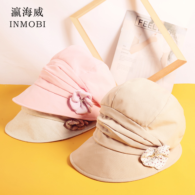 Audacious Womens Spring Summer Cotton Beret Sun Hats With Flower Pink White Khaki Peaked Flat Cap B Visors Hat For Women New 2019