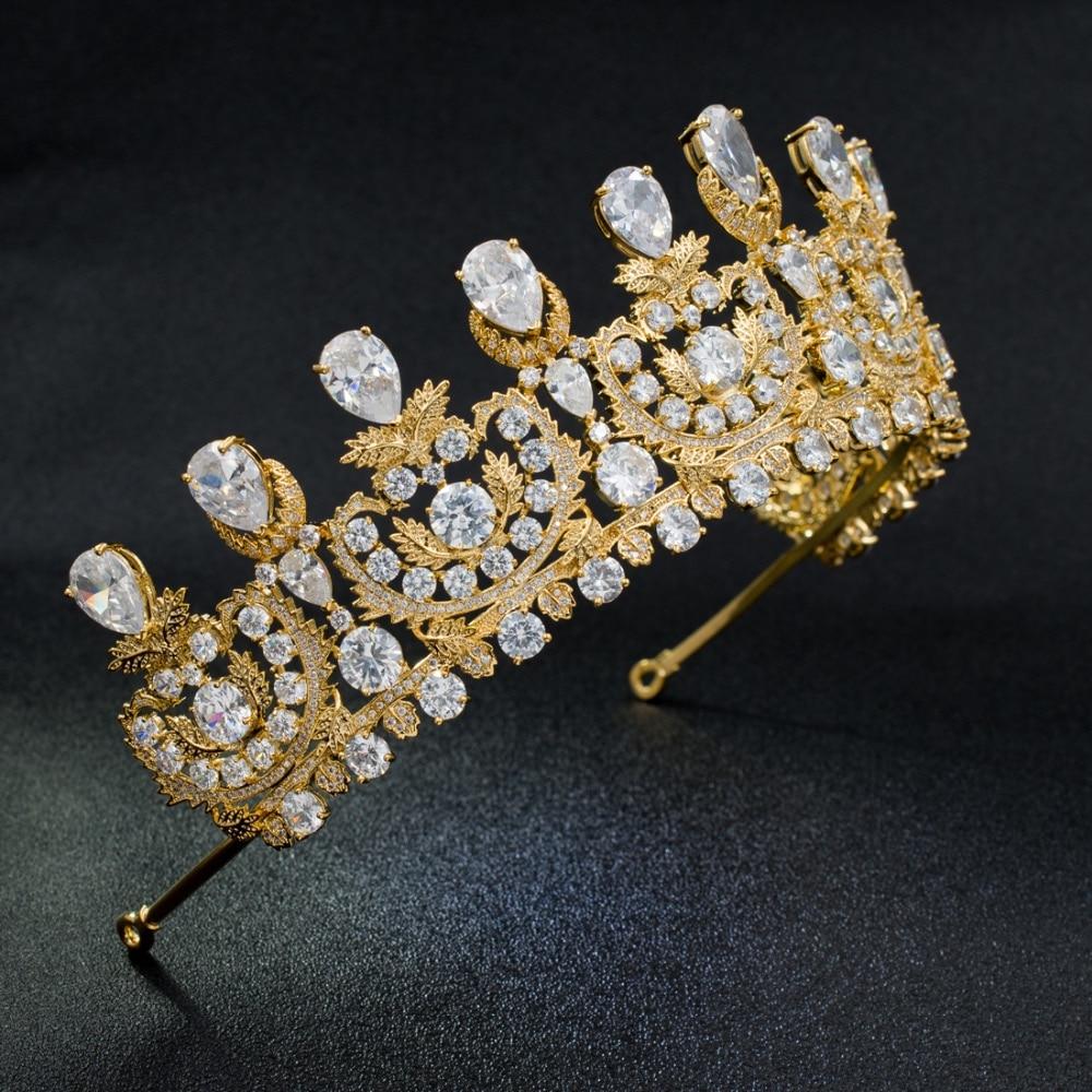 Classic Cubic Zirconia Classic Big Royal Wedding Bridal Gold Color Tiara Crown Women Girl Hair Accessories